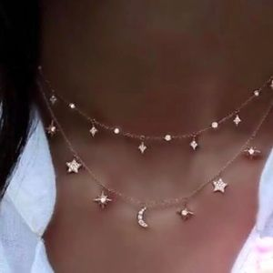 4 for $25⚡️layered moon star and cz necklace